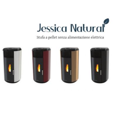 Poêle à granulés sans électricité JESSICA Noir brillant