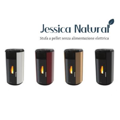 Poêle à granulés sans électricité JESSICA Blanc